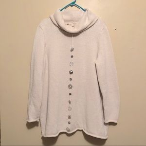 Soft Surroundings White Cotton Knit Sweater Size L
